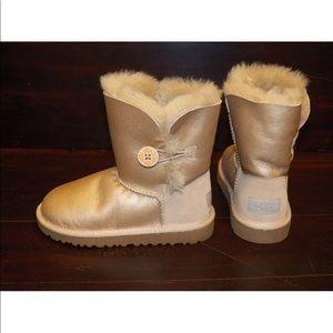 New UGG Kid Bailey Button Metallic Sand Gold Boots